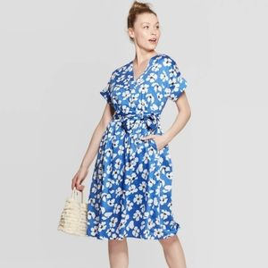 NWT Floral blue belted dress plus size 4X
